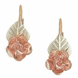 Black Hills Gold Rose Earrings Leverback Highly Detailed