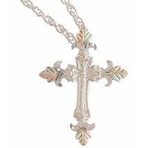 Black Hills Gold Necklace Sterling Silver Cross 4 Leaves