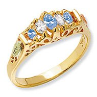 Black Hills Gold Genuine Sapphire & Diamond Ladies Ring
