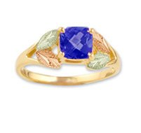 Black Hills Gold Lab Created Blue Sapphire Ladies Ring