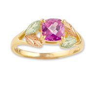 Black Hills Gold Lab Created Purple Sapphire Ladies Ring