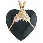 Black Hills Gold Necklace Black Onyx Heart Sharp