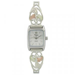 Black Hills Gold Watch Ladies Angel Diamond Sterling Silver