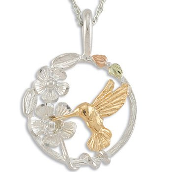 Black Hills Gold Hummingbird Flower Sterling Silver Necklace