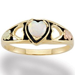 Black Hills Gold Lab Created Opal Heart Antiqued Ladies Ring