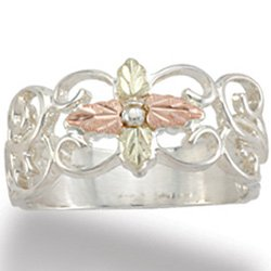Black Hills Gold Cross Sterling Silver Filigree Ladies Ring