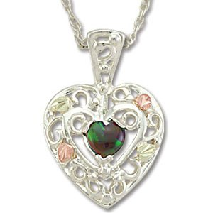 Black Hills Gold LC Black Opal Heart Sterling Silver Filigree Necklace
