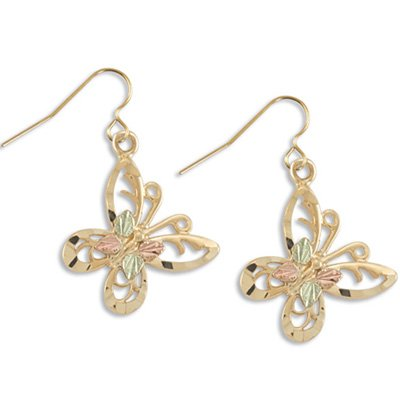 """Black Hills Gold & 10K Gold Butterfly Earrings 3/4"""" Long"""