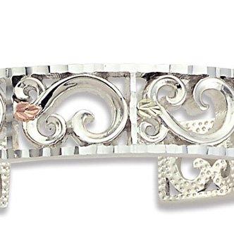 Black Hills Gold Leaves Sterling Silver Scroll Cuff Bracelet