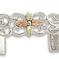 Black Hills Gold 3 Cross Sterling Silver Cuff Bracelet