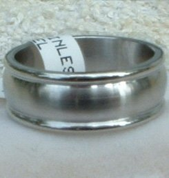 "Stainless Steel Ring Band 5/16"" Unisex Heavy"