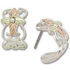 Black Hills Gold Cross Sterling Silver J Shape Post Earrings