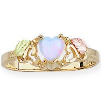 Black Hills Gold 2 Leaves LC Opal Heart Ladies Ring