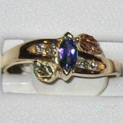 Black Hills Gold Diamonds & Amethyst Ladies Ring