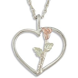 Black Hills Gold Rose On Sterling Silver Heart Necklace 7/8""