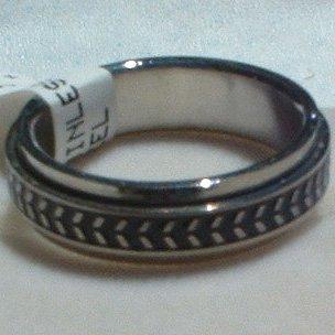 "Stainless Steel Ring Spinner 1/4"" Antiqued Unisex"