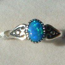 Sterling Silver Ring Ladies Oval Lab Created Blue Opal Antiqued