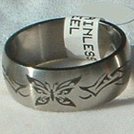 """Stainless Steel Ring Band 3/8"""" Unisex Antiqued Butterfly"""