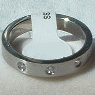 """Stainless Steel Ring Band 5/16"""" Unisex 3 CZ"""