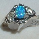 Sterling Silver Ring Ladies Lab Created Blue Opal