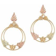 Black Hills Gold Earrings 3 Leaf  Hoop Dangle Post NEW