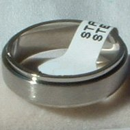 "Stainless Steel Ring Spinner 1/4"" Textured Unisex"