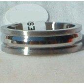 "Stainless Steel Ring Band 1/4"" Unisex Heavy 3 Ridge"