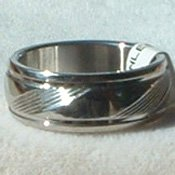 "Stainless Steel Ring Band 5/16"" Unisex Etched Lines"