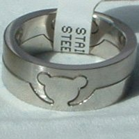 """Stainless Steel Ring 5/16"""" Unisex Mouse 2 Piece Puzzle"""