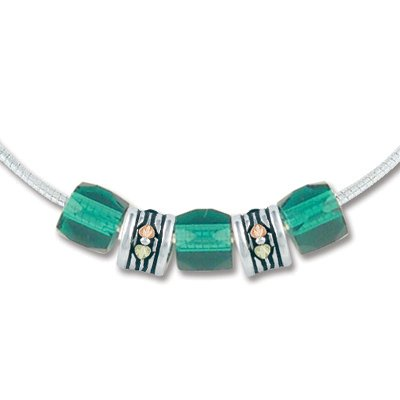 Black Hills Gold Silver Green Glass Beads Necklace