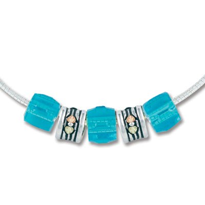Black Hills Gold Silver Turquoise Colored Glass Bead Necklace