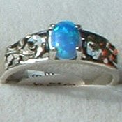Sterling Silver Ring Ladies Lab Created Blue Opal Open