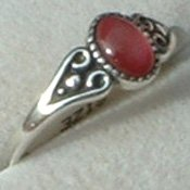 Genuine Pink Shell Ring Ladies Antiqued Sterling Silver