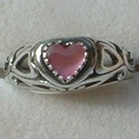 Genuine Pink Shell Ring Ladies Heart Sterling Silver