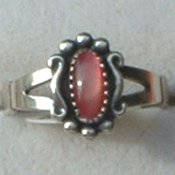 Genuine Pink Shell Ring Ladies Oval Sterling Silver Petit