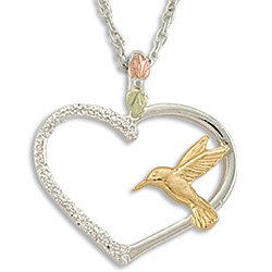 Black Hills Gold Hummingbird On Sterling Silver Heart Necklace