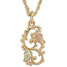 Black Hills Gold 2 Leaves Grapes & Swirling Vines Necklace