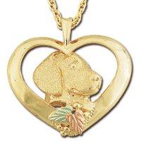 Black Hills Gold Dog In Heart Necklace Unisex