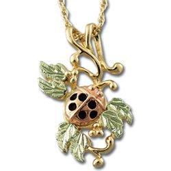 Black Hills Gold 6 Leaves Ladybug Pendant Necklace