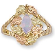 Black Hills Gold 8 Leaves Marquise Lab Created Opal Ladies Ring