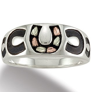 Black Hills Gold Sterling Silver Antiqued Horseshoe Ladies Ring