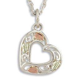 Black Hills Gold 4 Leaf Sterling Silver Heart Necklace