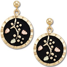 Black Hills Gold Antiqued Round Post Earrings
