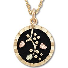 Black Hills Gold Antiqued Round Pendant Necklace