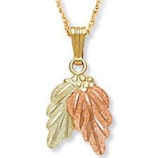 Black Hills Gold 2 Leaf & Grape Cluster Necklace