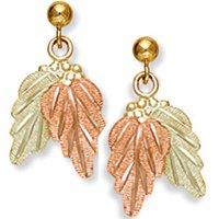 Black Hills Gold 2 Leaf Grape Cluster Dnagle Post Earrings