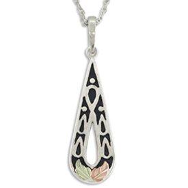 Black Hills Gold Antiqued Sterling Silver Teardrop Necklace