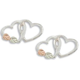 Black Hills Gold On Sterling Silver Double Hearts Earrings