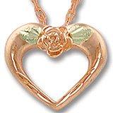 """Black Hills Gold Rose & 10K Pink Gold 5/8"""" Heart Necklace"""