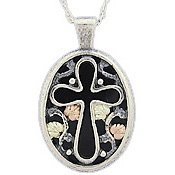 Black Hills Gold Necklace Black Onyx Silver Cross Oval